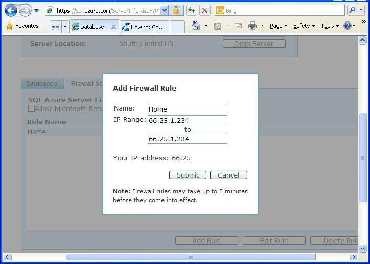 sql azure add firewall