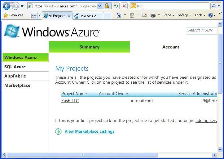 Windows Azure Projects